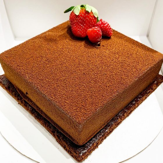 Mousse cake covered with CHOCOLATE VELVET image